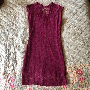 Charlotte Russe burgundy lace dress juniors large